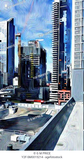 painting filter view Melbourne city buildings and building site