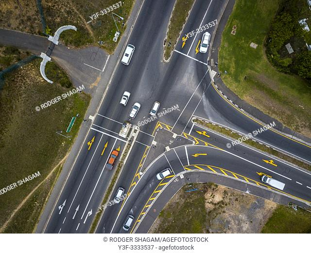 Looking down on a traffic intersection from the air