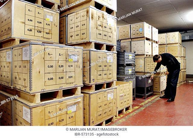 Containers with money in the Staatlichen Muenze Bad Cannstatt, Stuttgart, Germany