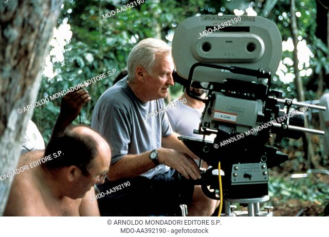 John Boorman on the set of The Tailor of Panama. British director and producer John Boorman, behind the camera, getting ready to shoot on the set of the film...