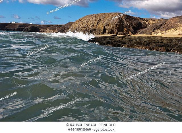 Atlantic, Spain, Europe, cliff, rock coast, body of water, water, Canaries, Canary islands, isles, coast, Lanzarote, sea, Playa Papagayo, Playa del Pozo, wave