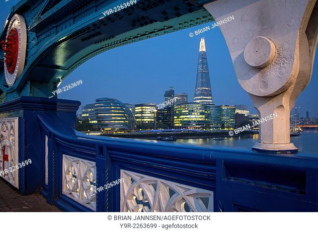 River Thames, the Shard, City Hall before dawn, viewed from Tower Bridge, London, England