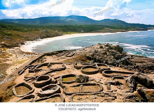 The Castro de Barona, Celtic settlement -1st century BC, Porto do Son, La Coruna province, Region of Galicia, Spain, Europe