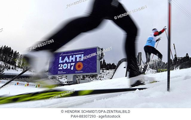 Athletes train in the stadium ahead of the Nordic World Ski Championships in Lahti, Finland, 21 February 2017. The World Championships run from 22 February to...