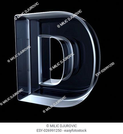 Transparent x-ray letter D. 3D render illustration on black background