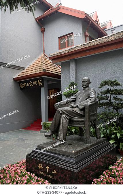Bronze statue of Dr. Sun Wen in front of his former residence, Shanghai, China