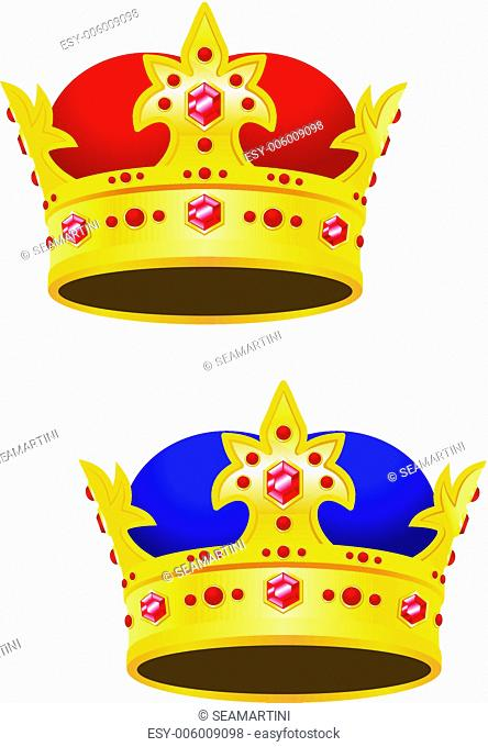 Golden king crown with gems isolated on white background
