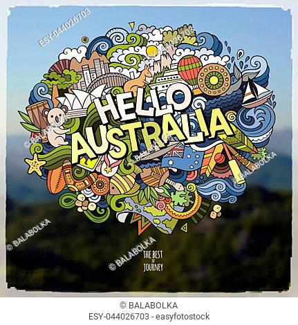 Hello Australia hand lettering and doodles elements and symbols emblem. Vector blurred background