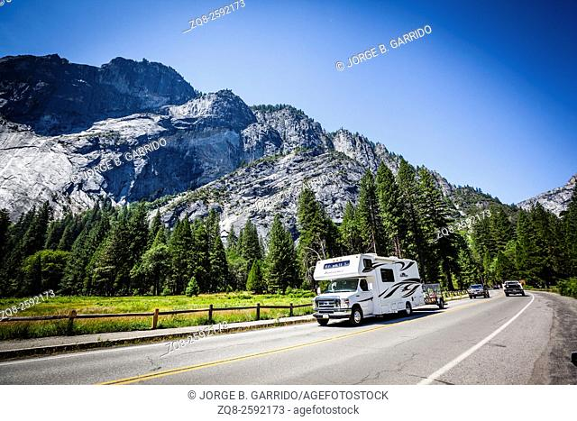 Road in Yosemite national park, California