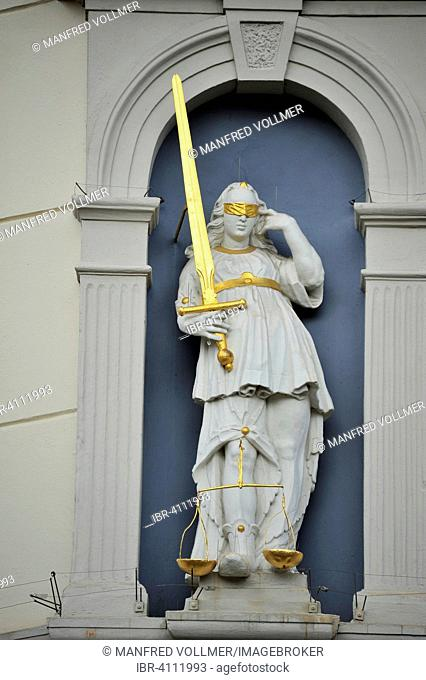 Justitia statue, Old Town Hall, Lüneburg, Lower Saxony, Germany