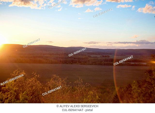 Landscape view of valley and hills at sunset, Ural, Russia