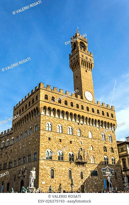 The Palazzo Vecchio is the town hall of Florence, Italy. It overlooks the Piazza della Signoria with its copy of Michelangelo's David statue as well as the...