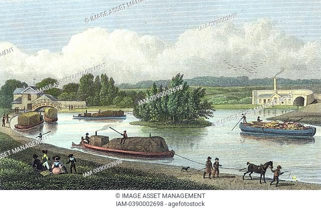 Junction of Regent's Canal at Paddington Basin, London  Hand-coloured engraving after TH Shepherd from 'London and Its Environs in the Nineteenth Century'...