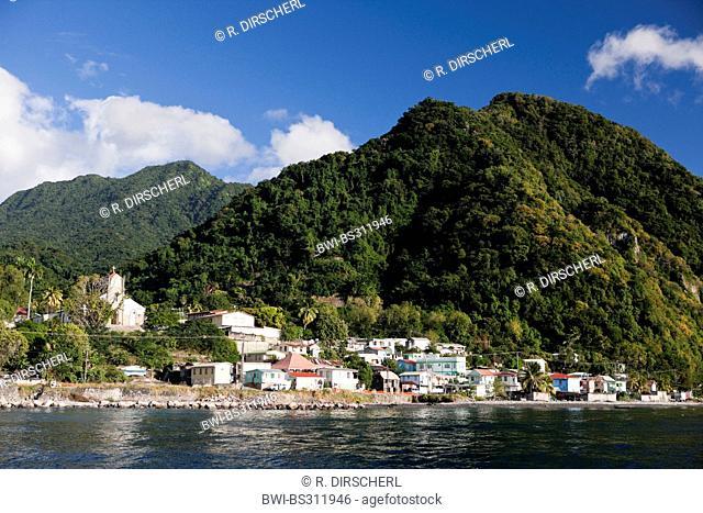 coastal town close to Roseau, Lesser Antilles, Caribbean Sea, Dominica