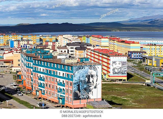 Russia , Chukotka autonomous district , Anadyr , headtown of the district , buildings painted or decorated with color pictures , Eskimo