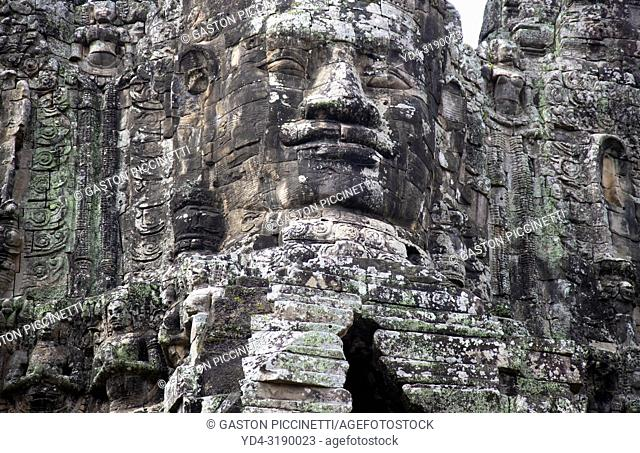 Detail of the stone faces at the south gate of Angkor Thom, Angkor Temples complex, Siem Reap Province, Cambodia, Asia