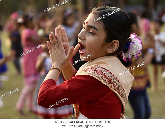 Guwahati, Assam, India. March 28, 2019. Perticipants during a Bihu Dance workshop ahead of Rongali Bihu Festival in Guwahati, Assam on Thursday, March 28, 2019