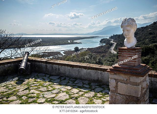Looking across the Vivari channel and the Albanian coastline from the Museum at Ancient Butrint, southern Albania