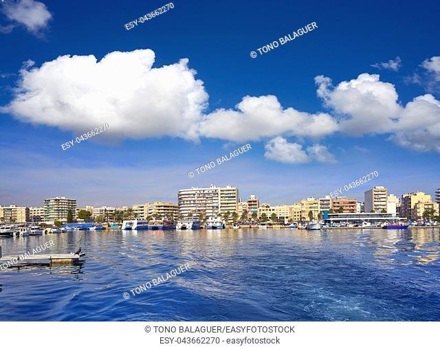 Santa Pola port and skyline in Alicante of Spain