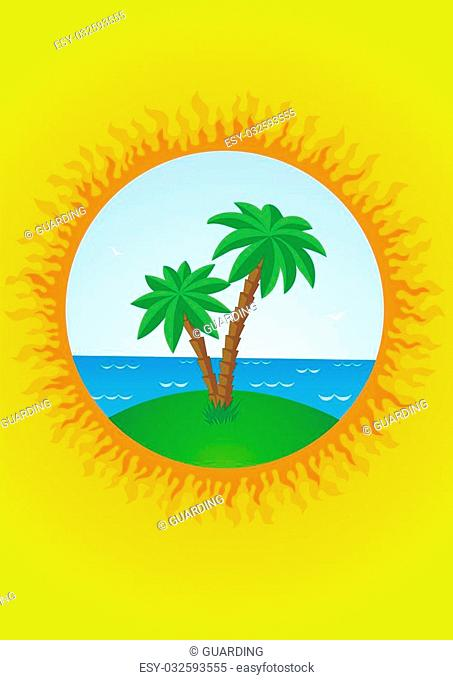 The sea and island with palm trees on the background of the Sun