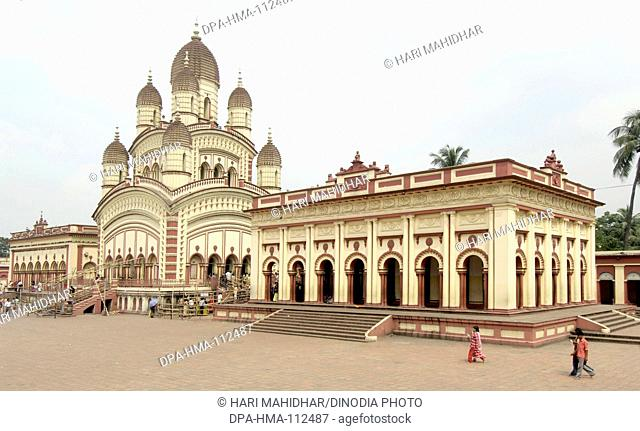 Dakshineshwar Kali Temple classic bengali hut style built in 1847 surrounded by twelve Shiva temples ; Calcutta now Kolkata ; West Bengal ; India
