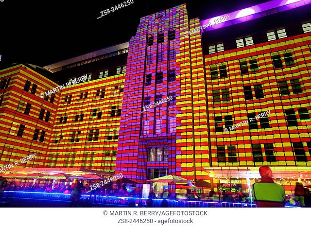 Facade of the Museum of Contemporary Art at Circular Quay lights up during Vivid Sydney 2015