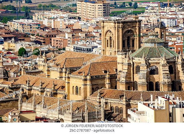 The cathedral and the surrounding city landscape, Granada, Andalusia, Spain