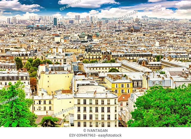 View of Paris from the hill of Montmartre.Paris. France