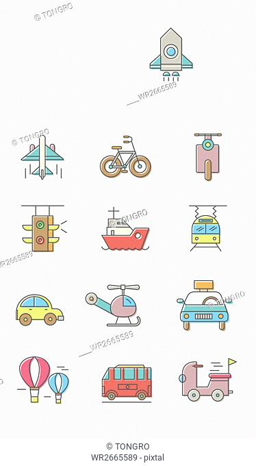 Set of various line icons related to transportation