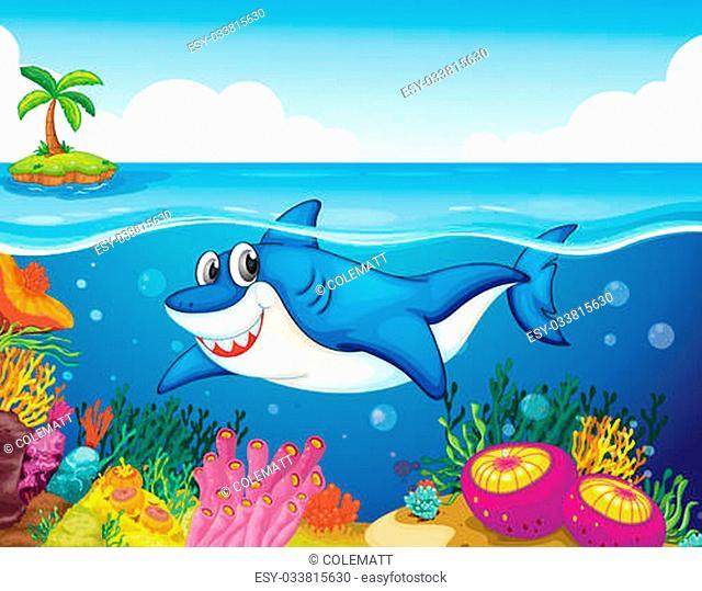 illustration of shark fish in a deep sea water