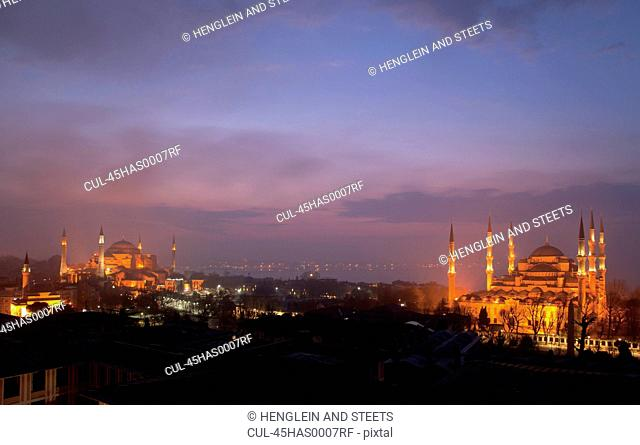 Aya Sofya and Blue Mosque at dawn with Bosphorus in background, Istanbul, Turkey