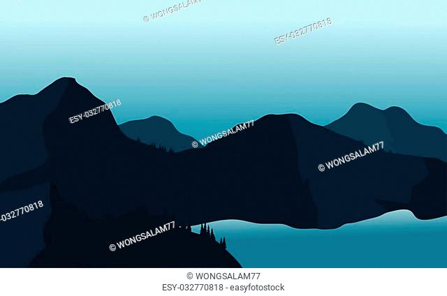 Silhouette mountain and lake at the night