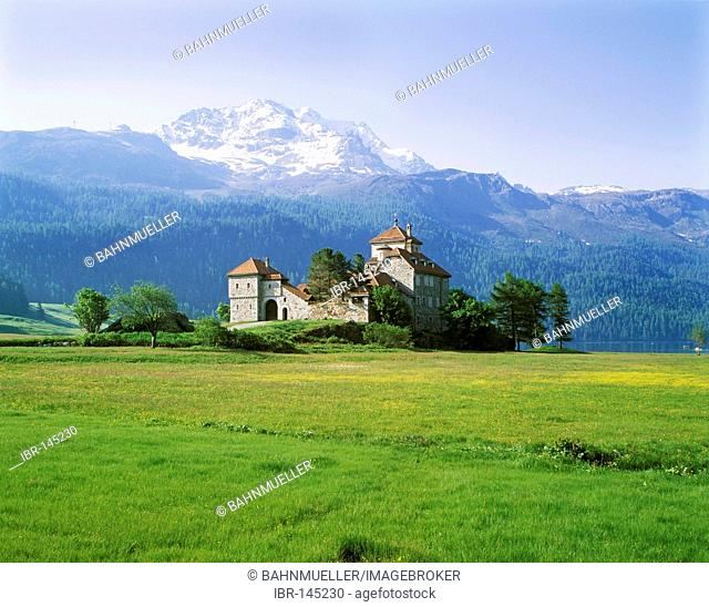 Crap da Sass castle in Silvaplana upon the lake Silvaplana near St. Moritz Engadin cantone of Graubuenden Grisons Switzerland built 19