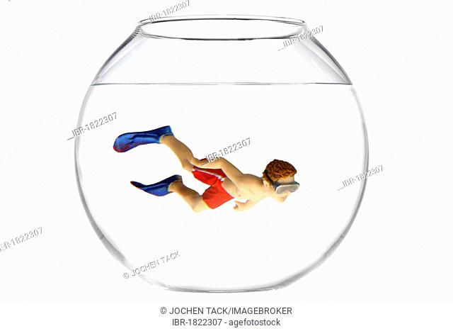 Toy boy swimming with diving goggles and flippers in a fish bowl, illustration