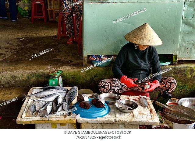 Fish seller in the market, Hoi An, Vietnam