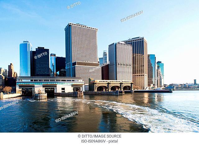 Hudson River and New York City skyline, USA