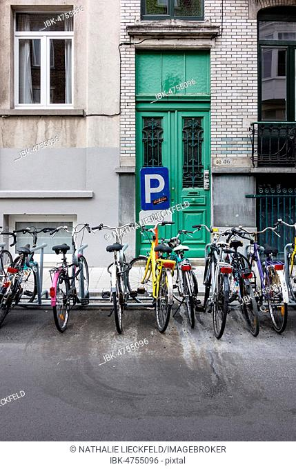 Bicycles parked in a car park, bicycle parking, Ghent, Belgium