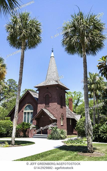 Georgia, Jekyll Island, barrier island, historic district, Faith Chapel, 1904, exterior, garden, palm trees