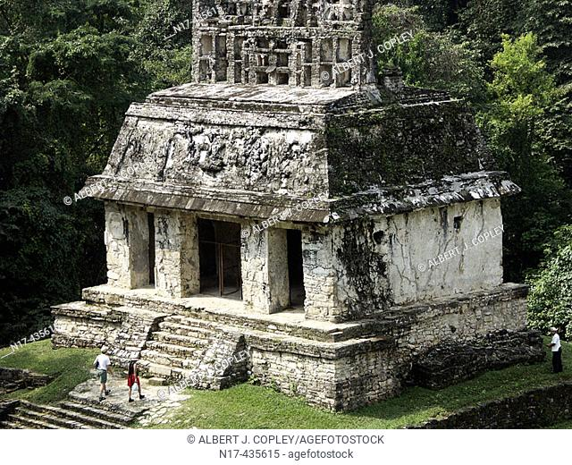 Temple of the Sun in Palenque, Maya archeological site (600 - 800 A.D.). Chiapas, Mexico