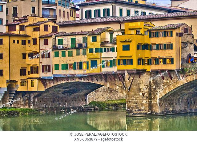 Ponte Vecchio, Old Bridge, Arno River, Florence, Tuscany, Italy, Europe