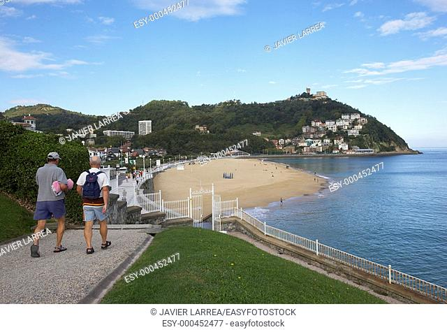 Playa de Ondarreta, Monte Igeldo, Donostia, San Sebastian, Gipuzkoa, Euskadi