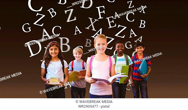 Digital composite image of school children with books against flying letters