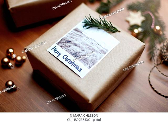 Gift wrapped in brown paper and decorated with fern and note reading Merry Christmas