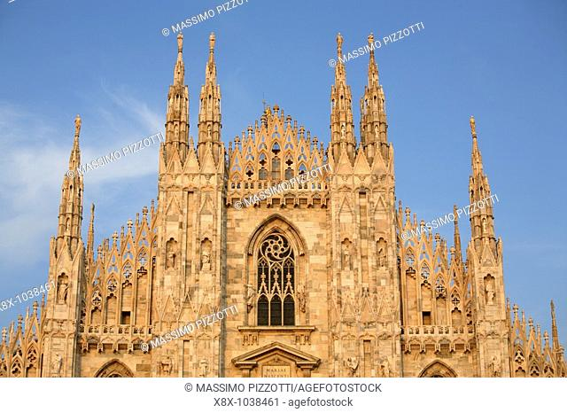 The top of the Duomo of Milan, Italy