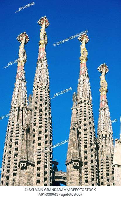 Detail of towers, Sagrada Familia temple, Barcelona. Catalonia, Spain