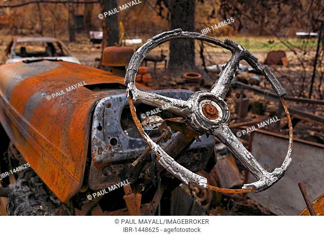 Burnt tractor steering wheel from the Black Saturday bushfires in 2009, Victoria, Australia