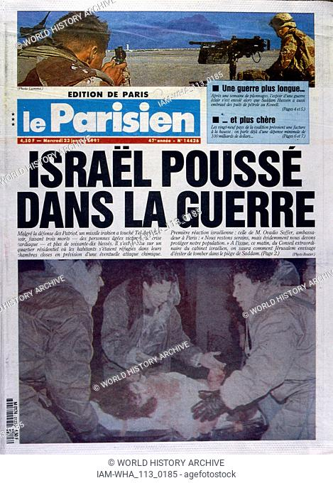 Headline in 'Le Parisien' a French newspaper, 23rd January 1991, concerning a missile attack on Israel during the Gulf War (2 August 1990 - 28 February 1991)