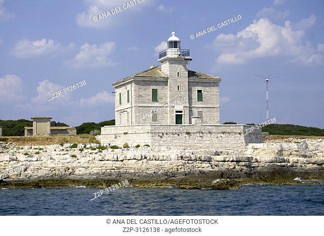 Lighthouse on island Brijuni national park in Adriatic sea Pula Istria Croatia
