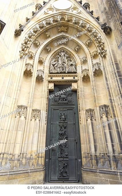 View of the entrance of the church of St. Vitus, Prague, Czech Republic