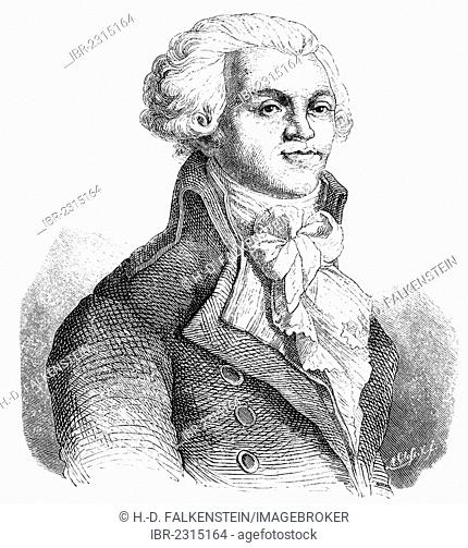 Historical drawing from the 19th century, portrait of Maximilien François Marie Isidore de Robespierre, 1758 - 1794, a lawyer and politician
